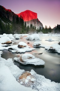 Yosemite Winter Sunset against El Capitan