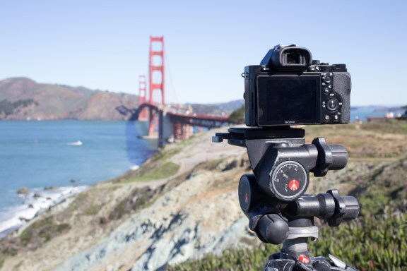 Sony A7R on Manfrotto Tripod in San Francisco Overlooking Golden Gate Bridge