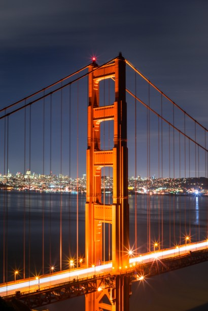 Sony A7R with Canon 50mm 1.8 FD Golden Gate at Night