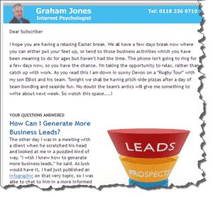 Screenshot of newsletter