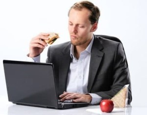 Eating at computer