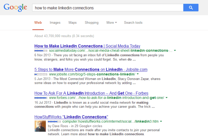 Search results on Google whilst signed in