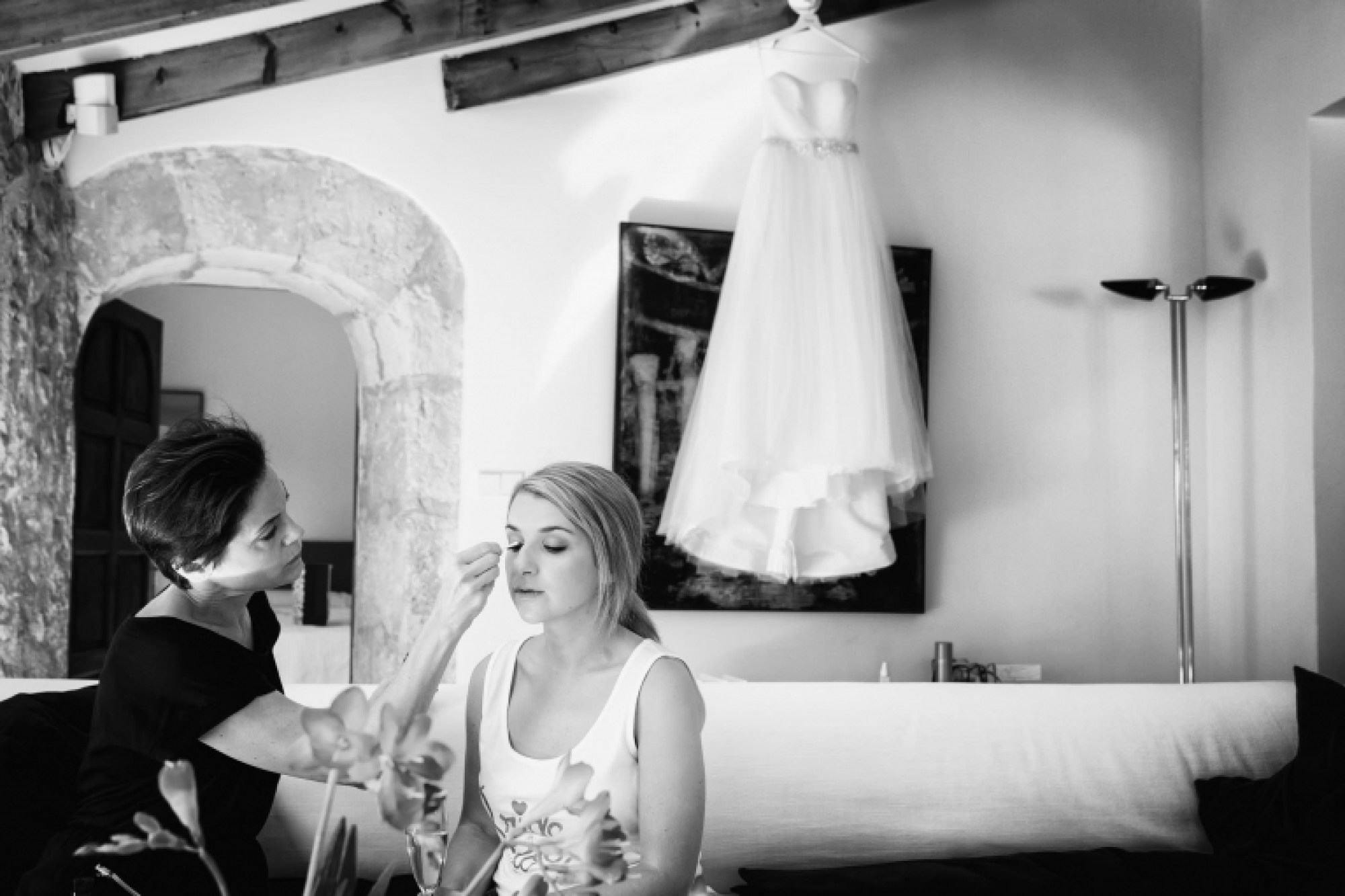 Bridal preparations at Can Vedera in the beautiful Mallorca village of Fornalutx