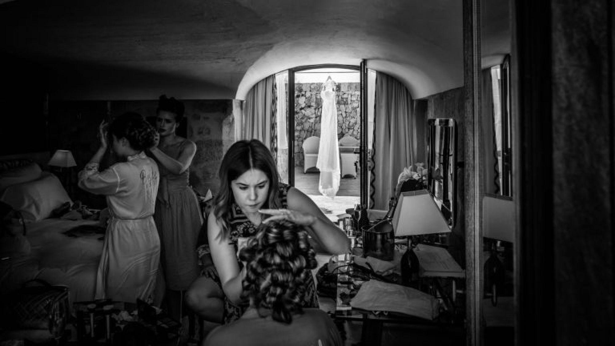 The dress, hair and make-up, and bride having fun at Cap Rocat