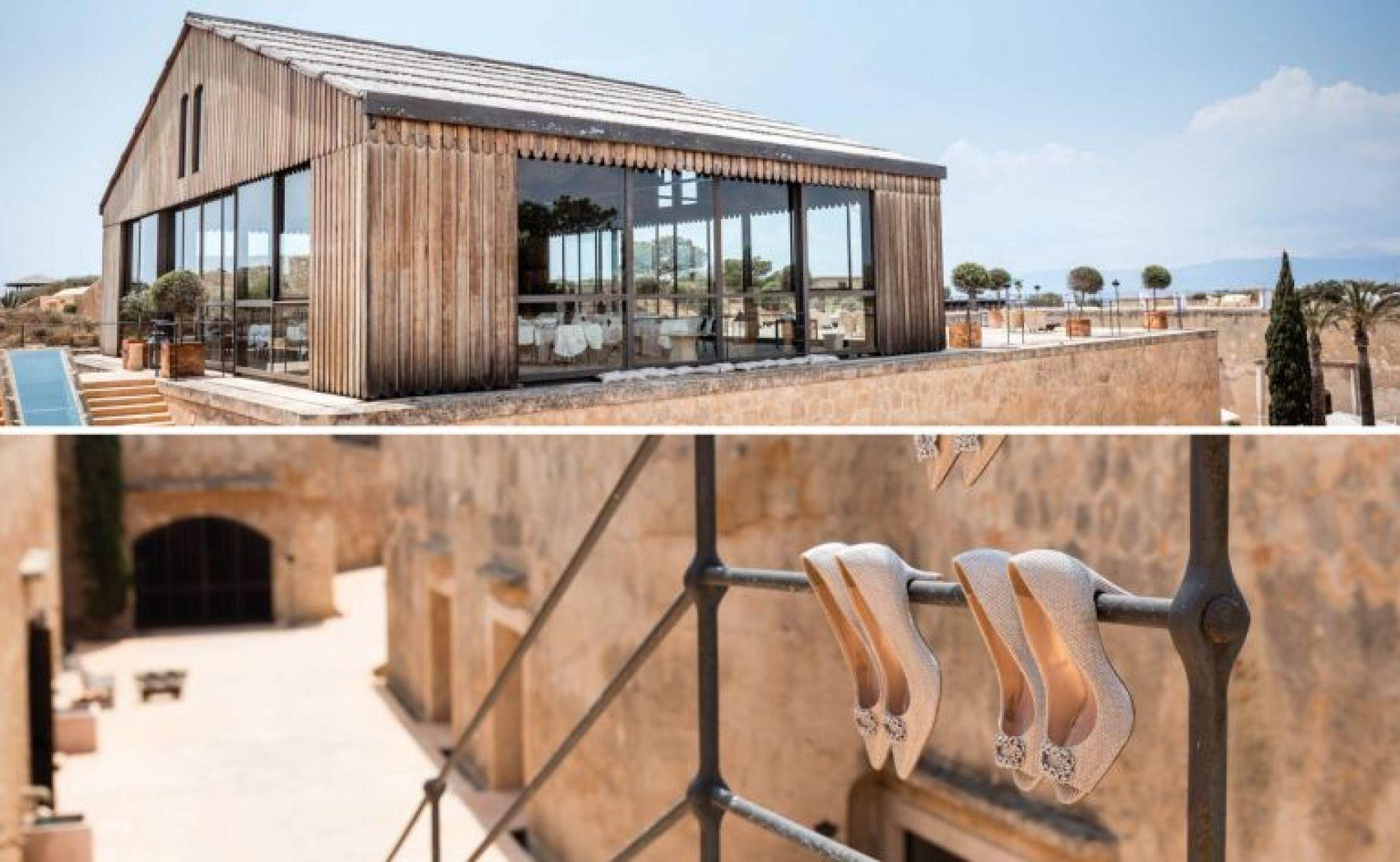 The rooftop reception building at bridal shoes at Cap Rocat