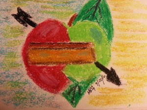 Heart, Apple, Leaf and Coffin ©mrg 9/22/16