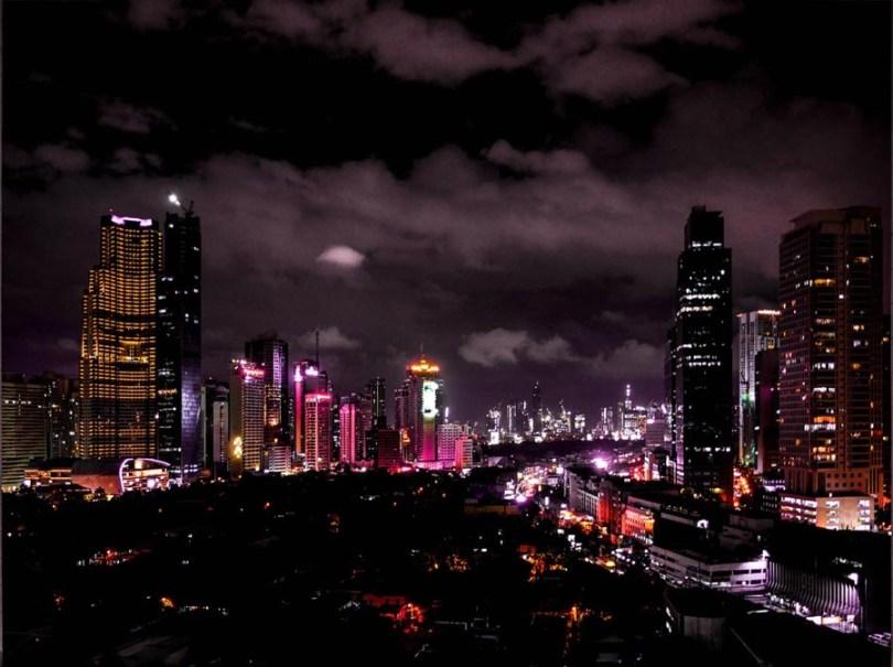 Le quartier de Makati à Manille by night