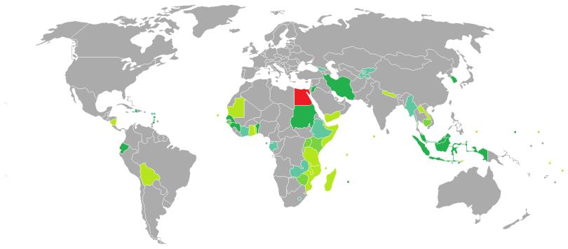 Pays où visa requis pour égyptien