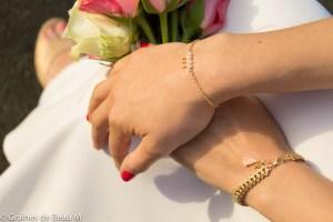Bracelet Lota et Eva, doré, blanc et rose saumon GBM