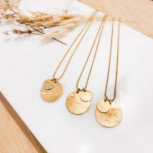 Atelier Duo de médailles en collier plaqué or