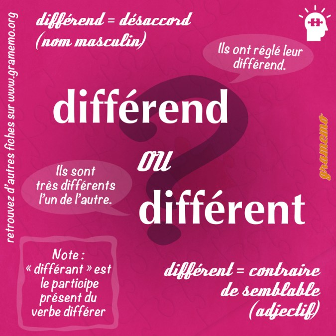 Différend ou différent - Homophones Gramemo