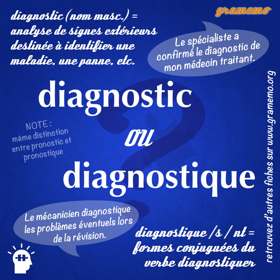 Diagnostic ou diagnostique - Gramemo