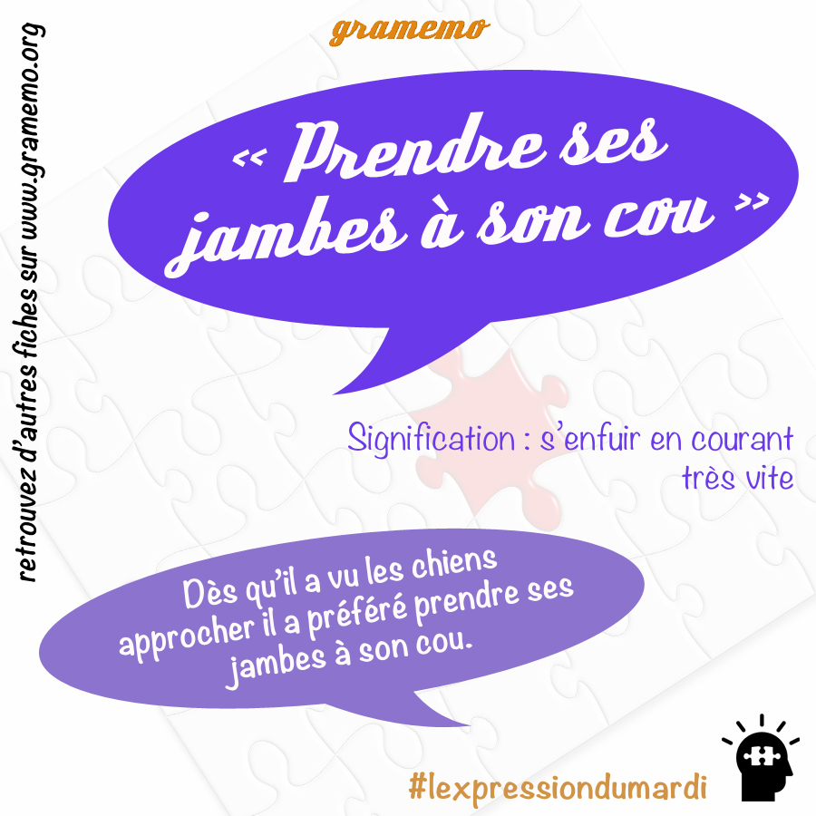 Prendre ses jambes à son cou - Expressions Gramemo