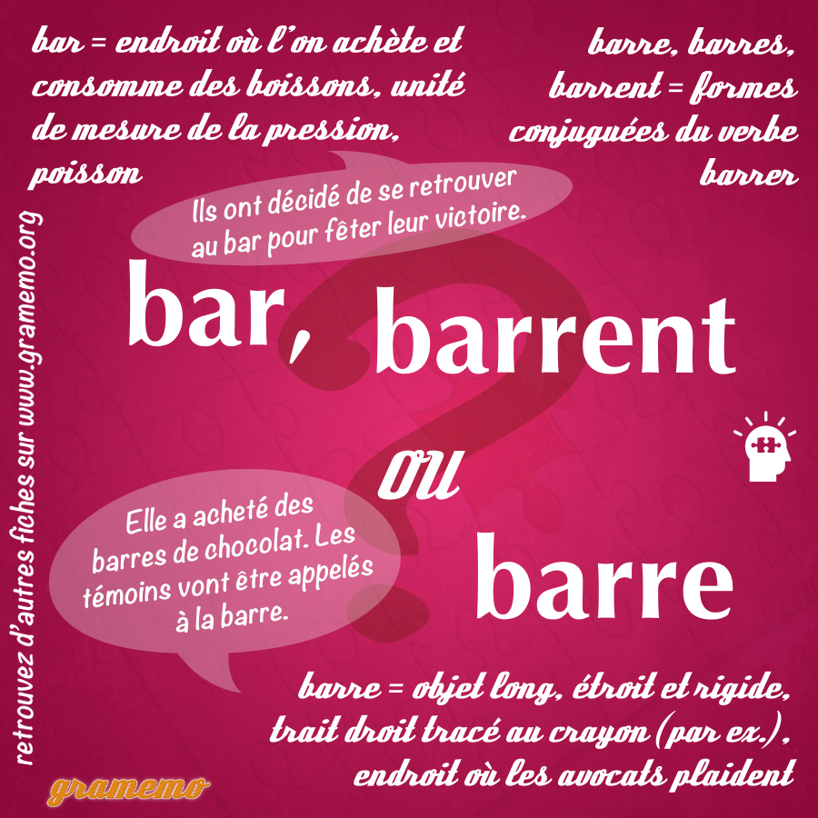 Bar barrent barre - Homophones Gramemo