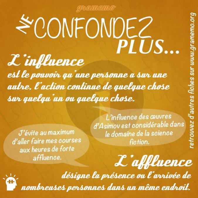 Influence ou affluence - Paronymes Gramemo