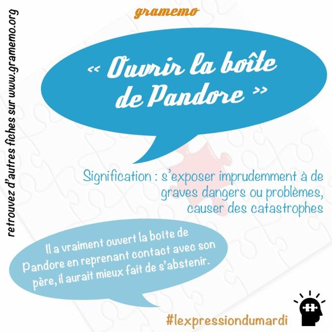 Ouvrir la boîte de Pandore - Expressions Gramemo
