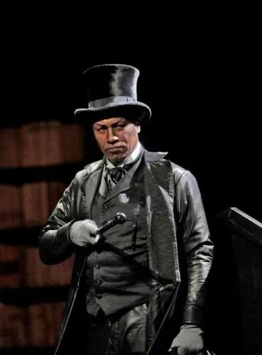"Mark S. Doss as Mephistopheles in Santa Fe Opera's ""Faust"" -photo by Ken Howard."