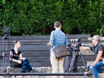 Mara Galeazzi giving a tv interview