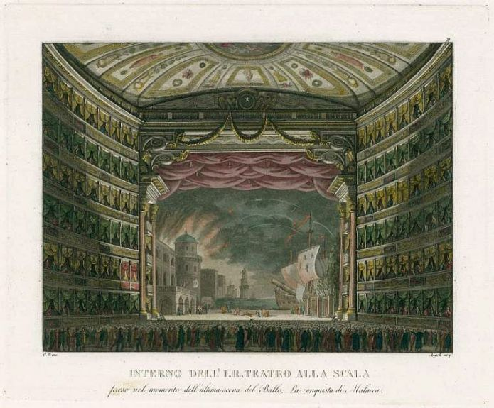 "La Scala during a performance of the ballet ""Conquista di Malacca"" by Alessandro Sanquirico"
