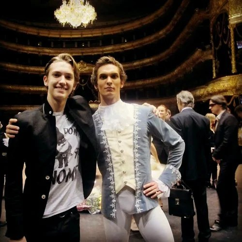 Bolshoi rising star Artem Belyakov with Julian MacKay Sergei Filin in back right