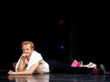 Steven McRae relaxing during rehearsals - photo by Graham Spicer
