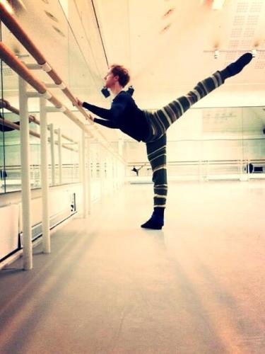 Steven McRae warming up before the live cinema relay of Sleeping Beauty 2014