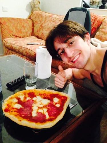 Valentino Zucchetti with homemade pizza