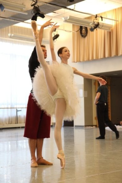 Bridgett Zehr rehearsing The Sleeping Beauty with Aarik Wells (National Ballet of Canada) - photo by Aleksandar Antonijevic