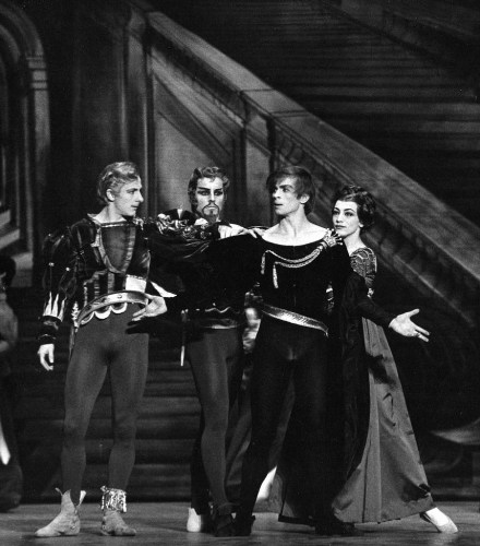 Dame Monica Mason with David Drew, Derek Rencher and Rudolf Nureyev in Hamlet. The Royal ballet 1964. www.roh.org.uk Photo: Donald Southern