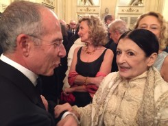 Carla Fracci at La Scala for Fidelio 7 December, 2014, with Francesco Storace Chief Executive Officer and General Manager of ENEL