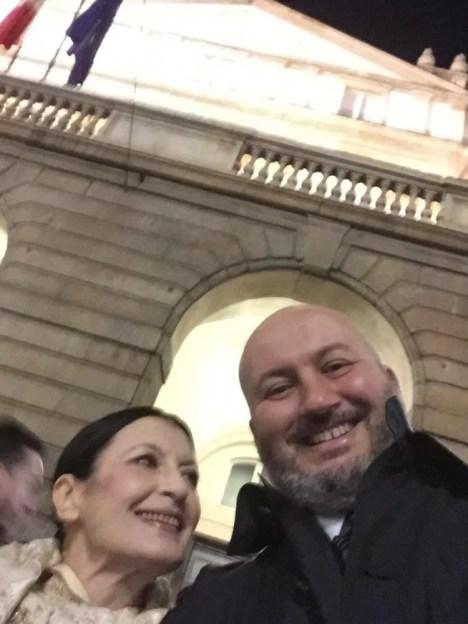 Carla Fracci at La Scala for Fidelio 7 December, 2014, with her son Francesco Menegatti