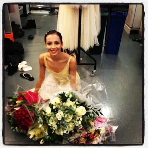 Francesca Hayward after her début in Frederick Ashton's Rhapsody - Royal Ballet