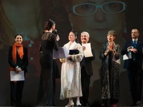 MAB 2015 - from left, Liliana Cosi, Rossella Brescia presenting, Carla Fracci, Bruno Vescovo and Anna Maria Prina with Maria Antonietta Berlusconi watching on
