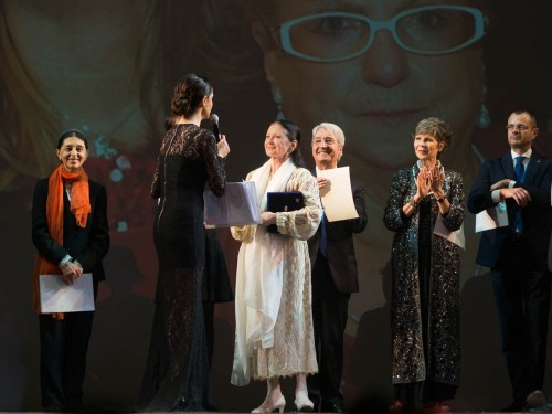 MAB 2015 - from left, Liliana Cosi, Rossella Brescia presenting, Carla Fracci, Bruno Vescovo and Anna Maria Prina with Maria Antonietta Berlusconi watching on