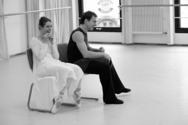 Having a laugh with Alen Bottaini during rehearsal of Romeo and Juliet