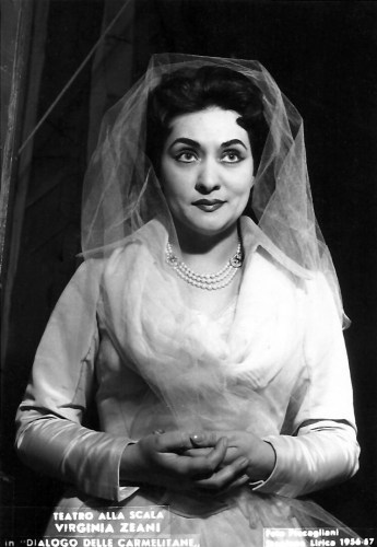 Virginia Zeani as Blanche in Dialogues of the Carmelites, La Scala 1957