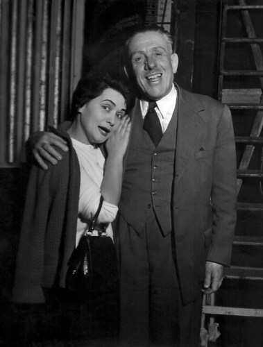Virginia Zeani with Francis Poulenc during the rehearsals for Dialogues of the Carmelites at La Scala, 1957