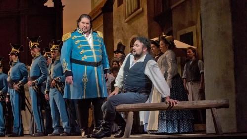 Nicola Alaimo as Belcore and Ramón Vargas as Nemorino in L'elisir d'amore - photo Ken Howard, Metropolitan Opera
