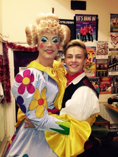 David Ashley with Aaron Jenkins during the run of Dick Whittington, Wyvern Theatre, Swindon