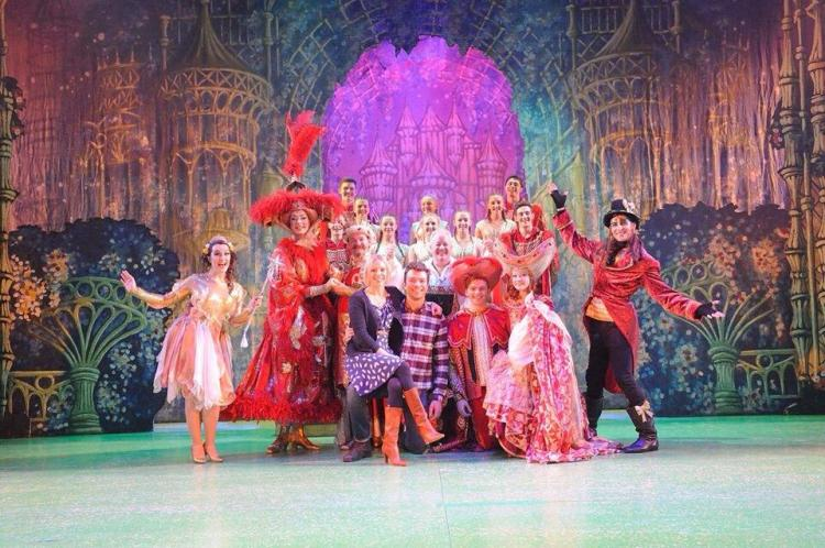 David with the cast of Jack and the Beanstalk, Wyvern Theatre, Swindon