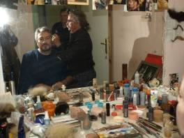 Carlo Colombara during makeup for Don Carlo in Sofia, 2014