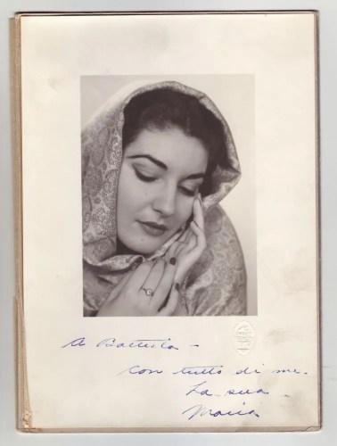 Portrait of Maria Callas with an inscription to Giovanni Battista Meneghini, 1947