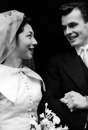 Peter Wright's wedding day, with Sonya, 1954