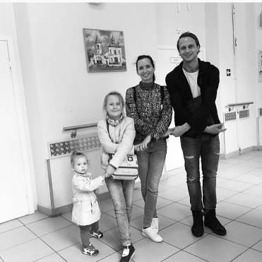 Andrey with Ksenia and Masha, his sisters, and little Alisa, his niece
