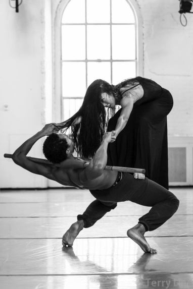 Abdiel Cedric Jacobsen in rehearsal with principal dancer, PeiJu Chien Pott, for Erand Into The Maze
