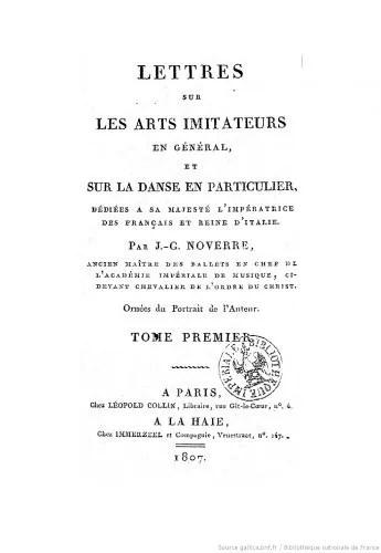 Lettres sur les arts imitateurs Noverre