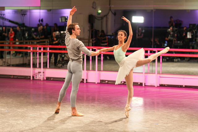 Matthew Ball and Yasmine Naghdi rehearsing The Sleeping Beauty as part of World Ballet Day © 2016 ROH. Photograph by Charlotte MacMillan
