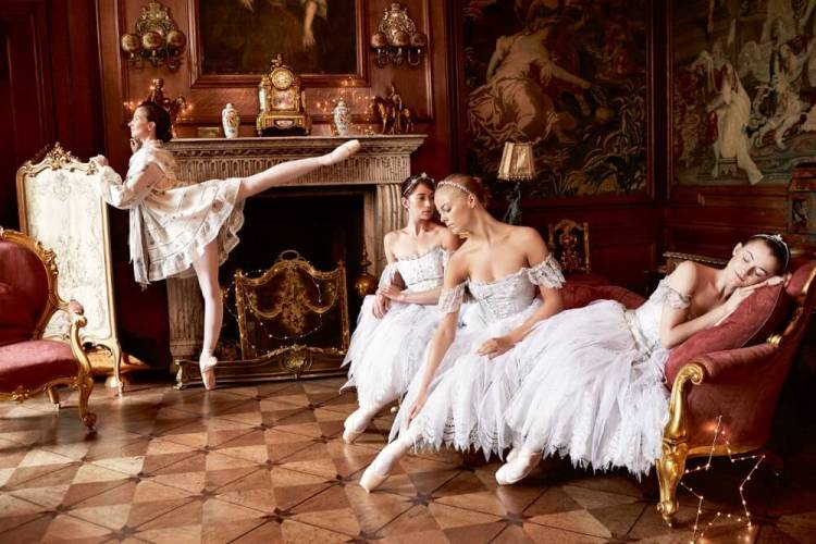 Lauren Cuthbertson in a Giambattista Valli Couture dress, while Hannah Grennell, Gina Storm Jensen and Anna Rose O'Sullivan wear tiaras by David Morris for Town and Country