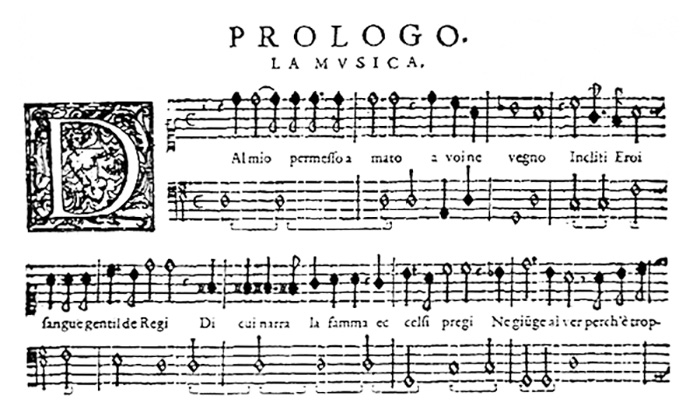 Prologo from the Orfeo score of 1609