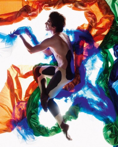 Casey Herd photographed by Ruud Baan for Dutch National Ballet's poster for 100 years of the Ballet Russes, a modern take on Leon Bakst's designs for Nijinsky's The Afternoon of a Faun